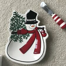 Fitz & Floyd Snowman plate and knife