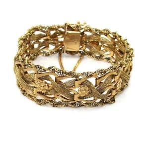 Vintage 14K Yellow Gold Weave Woven Flower Bracelet