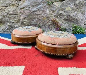 Pair Of Victorian Footstools With Beaded Tapestry Cushions And Parquetry Sides