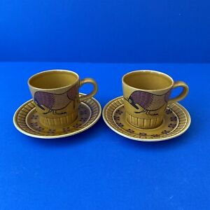 1960-1970's Palissy Royal Worcester TAURUS Retro Bull Pair of Cups & Saucers