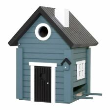 DESIGNER WOODEN BIRD HOUSE + FEEDER - CORNFLOWER BLUE