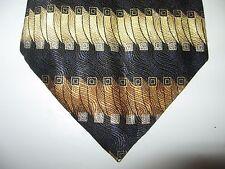 UNBRANDED 60 x 4 Gold Black Silk Stripe Necktie Tie (13143) Free US Ship