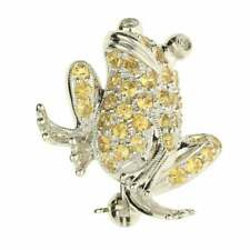 18ct White Gold Yellow Sapphire & Diamond Frog Brooch