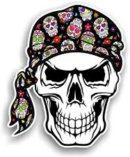Skull With HEAD Bandana & Mexican Sugar Skull Pattern vinyl car sticker decal