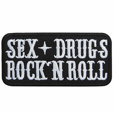 Sex + Drugs Rock 'n' Roll Slogan Text Motorcycles Tattoo Iron-On Patches #T001