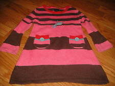 Mini Boden 2-3 2t 3t pink brown  sweater style dress