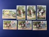 7 Nice Children & Horses Antique Postcards. Colorful. For Collectors w Value