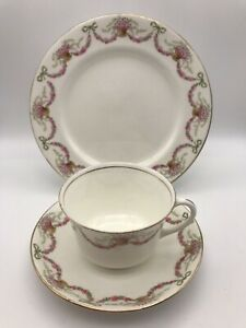 AYNSLEY RIBBONS, BOWS & SWAGS OF ROSES  TRIO, CUP, SAUCER AND PLATE - A968 D VGC