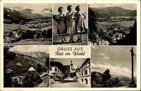 REIT IM WINKL alte Mehrbild-AK 6 Ansichten Bayern ua. Trachten-Frauen um 1950/60