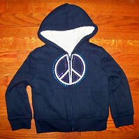 New! Girls THE CHILDREN'S PLACE Navy Blue Silver Peace Sign Jacket Size XS 4