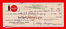 1952 Coca Cola Tell City Ind Old Bottling Co Check #646