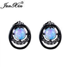 JUNXIN Four Claw Round Cut Blue Fire Opal Stud Earrings Women Black Gold Jewelry