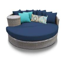 Florence Circular Sun Bed - Outdoor Wicker Patio Furniture in Navy