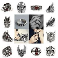 Gothic Punk Finger Rings Men's Titanium Steel Fashion Skull Head Biker Jewelry