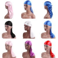Durag Unisex Silky Hair Loss Head Wrap Cap Summer Bandannas Doo Rag Solid Color