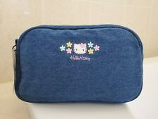 Hello Kitty Blue Denim Jeans Cosmetic Travel Accessory Makeup Storage Pencil Bag