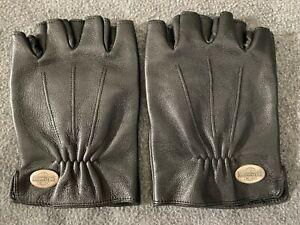 Harley Davidson Fingerless Black Leather Gloves Mens L Open Half Finger Cut Off