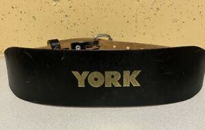 """York Leather 4"""" Wide Weight Lifting Belt 41"""" Long Good Used"""