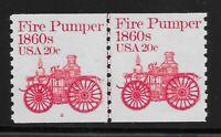 US Scott #1908, Plate #2 Line Pair 1981 Fire Pumper 20c FVF MNH