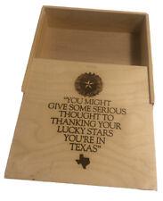 """Laser Made in TEXAS Star Wooden Box Keepsake Storage Trinket 10"""" Pie Storage"""