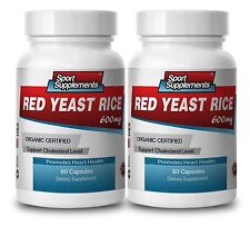 RED YEAST RICE 600mg. ORGANIC CERTIFIED. Supports Cholesterol Level (2 Bottles)