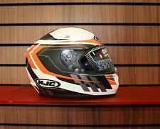 HJC R-Pha 10+ Cyper casco de motocicleta en blanco y negro y naranja