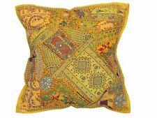 "Yellow Designer Tapestry Floor Pillow Cover Ethnic Style Sari Big Euro Sham 26"""
