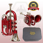 "Best Pocket Trumpet 3V Pro Brass ""Chopra"" Make Red with Mouth Piece +Case"