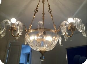 VINTAGE MURANO GOLD  AND GOLD GLASS CHANDELIER