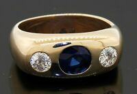 Vintage heavy 14K gold 2.16CTW diamond & Blue sapphire men's ring size 8.5