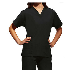 BLACK  V Neck Nursing Scrub Set  Men Women Unisex Top Pants Hospital 2PC SET