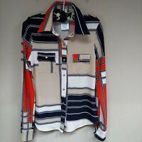 BCBGMAXAZRIA Womens Tan Navy Colorblock Blouse Button Up Shirt Long Sleeve Sz PS