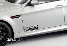 V6 SPORT Racing Vinyl Decal car emblem logo skirt door sticker BLACK/RED