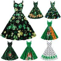 St. Patrick's Day Women Shamrock Evening Print Party Prom Strap Big Swing Dress