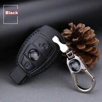 For Benz E260L 2 buttons Top leather car key case holder cover remote fob Black