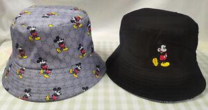 Men Women Reversible GG1 Disney Mickey Mouse Bucket Hat Outdoor Beach Cap NWT