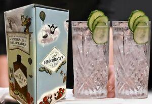 2 X HENDRICKS GIN GLASS Hi-Ball Heavy Weight Gift Boxed - Ideal Birthday Gift