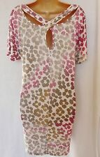 BNWT NEXT pink ecru animal print jersey slouch tunic top cross over back size 12