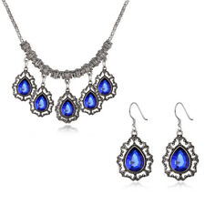 Classic Sliver Filled Blue Tear Drop Crystal Necklace Earrings Set Party