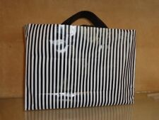 100 Plastic Carry Bags with Black Plastic Handle Black & White Stripe