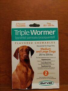 Triple Wormer Broad Spectrum De Wormer Medium Large Dogs 25 Pounds Plus 2 Tabs