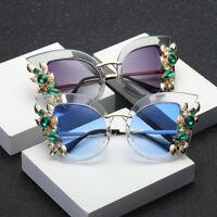Womens Cat Eye Fashion Sunglasses Ladies Rhinestone Flower Retro Vintage Shade
