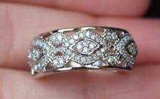 New Sz 8 10K 3/8ct Natural Diamond Cigar Wedding Anniversary Ring White Gold