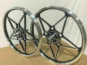 "Custom Alloy 20"" x 2.125 Wheelset 10 Spokes Chrome/Black BMX Bikes M13"