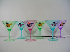 Set 6 Retro Style Plastic Cocktail Martini Glasses Girl Party Barware