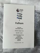 BIRMINGHAM CITY v FULHAM 06.10.18 U23 PREMIER LEAGUE CUP GROUP STAGE PROGRAMME