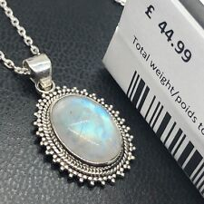 Superb Oval Moonstone 925 Sterling Silver Gemstone Necklace Pendant Gift Boxed