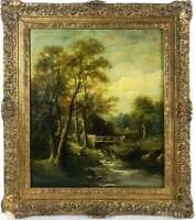 Oil Painting, Figural Landscape River Scene,19th C.( 1800s ), Gorgeous,Antique!!