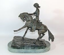 "Frederic Remington ""The Cowboy"" Bronze Sculpture Statue Marble Base SIGNED"