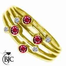 Anillos de joyería natural de oro amarillo de rubí